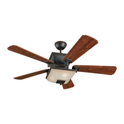 Monte Carlo Fan Company - Monte Carlo Fan Company 5TQ52RBD-L Town Square 3 Light Indoor Ceiling Fans in Ro - 52in 5 Blade American Walnut