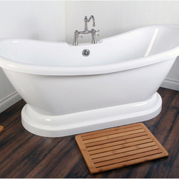 Contemporary Double Slipper Pedestal Bathtub - A pedestal-style tub in the bathroom has long been a dream of mine. I like the faucet in the middle and the slope of the top of this one.
