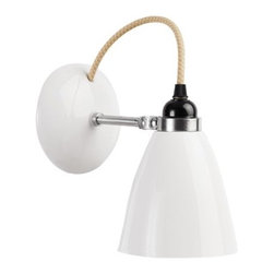 Original BTC - Hector Wall Sconce - I just love the elegance of the Hector wall sconce. The fabric cord punctuates the black socket, white base and shade to add charm. It's classic, modern and warm.