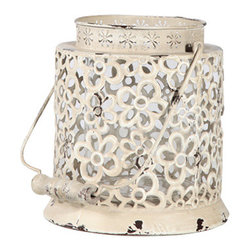 Antique White Lantern - Antiqued metal lantern with an embossed floral pattern, wood handle, and removable glass vase that can be used to hold fresh flowers or candles.