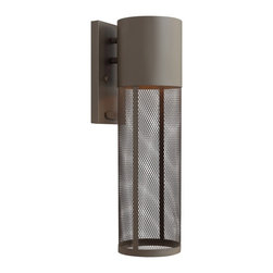 """Hinkley - Contemporary Hinkley Aria Steel Mesh 18 1/2""""H Bronze Outdoor Wall Lantern - Do your part to preserve the beauty of the night sky with this Dark Sky compliant aluminum outdoor wall lantern in a handsome Buckeye bronze finish. The look is handsome and contemporary with a cylindrical stainless steel mesh shade. From the Hinkley outdoor lighting Aria collection. Hinkley Aria outdoor wall lantern. Aluminum construction. Stainless steel mesh shade. Buckeye bronze finish. Dark Sky compliant. Takes one 72 watt halogen bulb (not included). 18 1/2"""" high. 5"""" wide. Extends 6 3/4"""" from the wall. Backplate is 8 1/4"""" high 4 1/2"""" wide. 5"""" from mounting point to top of fixture.  Hinkley Aria outdoor wall lantern.  Aluminum construction.  Stainless steel mesh shade.  Buckeye bronze finish.  Dark Sky compliant.  Takes one 72 watt halogen bulb (not included).  18 1/2"""" high.  5"""" wide.  Extends 6 3/4"""" from the wall.  Backplate is 8 1/4"""" high 4 1/2"""" wide.  5"""" from mounting point to top of fixture."""