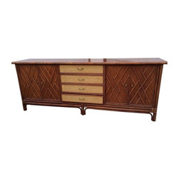 Pre-owned Vintage Faux Bamboo & Rattan Credenza - This is a great vintage late 1960s early 1970s faux bamboo and rattan credenza. The credenza is in good vintage condition, but the top could use some TLC. (See photo for detail)