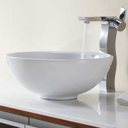 Kraus - Kraus White Round Ceramic Sink and Sonus Faucet - Add a touch of elegance to your bathroom with a ceramic sink combo from Kraus.