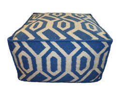 Jiti - Jiti Indoor Geometric Blue Pouf - Jiti was inspired by Latin and American culture and style. The attraction to the neutral, organic and vibrant colors the earth offers draws JITI to developing the enriching pouf they offer.