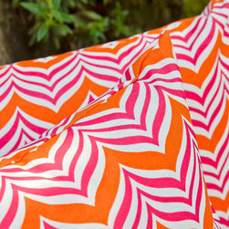 Square Makhadda Pillow - If you want to add a dose of color and pattern to your outdoor space, our Square Makhadda Pillow is just the ticket. Featuring wavy chevron stripes in either vibrant orange and pink or electric blue and black, it has worldly flair and bright summer style. Better yet, made of water-repellent polyester and a hidden zipper closure, it's suitable for indoor or outdoor use, as well as easy to care for.