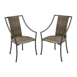 HomeStyles - Slope Arm Chair - Set of 2 - Set of 2. Synthetic-weave seat and back. Stone and powder coated steel frame. Tie-attachment taupe cushions. Synthetic-weave is both moisture and weather resistant. Requires very little maintenance. Adjustable nylon glides prevent damage to surfaces and provide stability on uneven surfaces. Designed to stack for easy storage. Brown color. Made in Vietnam. Seat height: 18 in.. Arm height: 22.75 in.. Overall: 23.25 in. W x 22.25 in. D x 36 in. H. Warranty. Assembly instructions