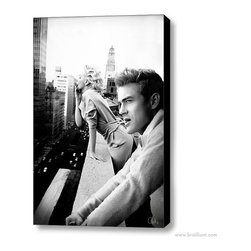 Marilyn Monroe & James Dean 'New York' 2011 Canvas Art - Much like our silver-screen icons, New York City skyline never quite loses its luster. Anashé Hart's foray into digital art served as a peer-evaluated concept piece to commemorate Marilyn Monroe's birthday, featured on DeviantART in June of 2011. Showcasing a contemporary juxtaposition with 72 digitally rendered image layers. The original rooftop image of Marilyn Monroe and James Dean smoking together in the urban cityscape of New York quickly turned into an online photo-sharing sensation. Contemporary artworks published by Brailliant are designed for today, and reflect the great attention to style and old Hollywood glamour.