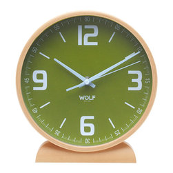 """WOLF - 8"""" Round Mantel Clock, Green - Simplicity and minimalism characterize this round, wood-framed mantel clock. This stark, contemporary design features an 8"""" dial contrasted with white hands and sans-serif numbering for easy readability."""