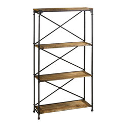 Cyan - Monacco Étagère - Intentionally distressed wood and a strong metal framework make this étagère a handsome bookshelf or all-purpose storage case. Crisscross metal backing serves as a functional and appealing industrial feature that you'd be inspired to keep in view.