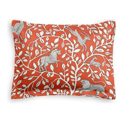 Red Modern Animal Motif Custom Sham - The Simple Sham may be basic, but it won't be boring!  Layer these luxurious reversible shams in various styles for a bed you'll want to fall right into. We love it in this sketched African animal and vine motif in modern rust red. Be wild and wonderful!