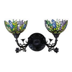 "Meyda Tiffany - Meyda Tiffany 27393 Stained Glass / Tiffany 2 Light 21"" Wide Bathroom Fixture - Tiffany ReproductionsHoney Locust Two Light Wall Sconce2 Medium base bulbs, 60w (max)"