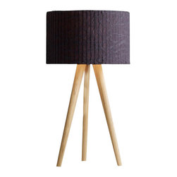 """Domus - Domus Sten Cloud Table Lamp - STEN, the modern interpretation of a timeless classic. With its casual charm and beautiful lighting ambience, this stable tripod, available in oiled white oak or oiled walnut, sets new accents, both for residental and office spaces. The cylindrical screen appears to rest nearly weightlessly on the delicate wooden structure of the three tapered legs. The STEN Cloud lampshade is crafted in an elaborately pleated and crushed Trevira. A nice feature is the pull switch in the shape of a long rod that comes with the lamp in both silver and red. A textile cable-silver for the oak-, black for the walnut version-adds to the high quality appeal of the lamp. The E27 fixture can be fitted with both halogen and compact fluorescent lamps.  Product Details STEN, the modern interpretation of a timeless classic. With its casual charm and beautiful lighting ambience, this stable tripod, available in oiled white oak or oiled walnut, sets new accents, both for residental and office spaces. The cylindrical screen appears to rest nearly weightlessly on the delicate wooden structure of the three tapered legs. The STEN Cloud lampshade is crafted in an elaborately pleated and crushed Trevira. A nice feature is the pull switch in the shape of a long rod that comes with the lamp in both silver and red. A textile cable-silver for the oak-, black for the walnut version-adds to the high quality appeal of the lamp. The E27 fixture can be fitted with both halogen and compact fluorescent lamps.                         Manufacturer            Domus                            Designer            Design Wiege                            Made In            Germany                            Dimensions            Max Height: 27 1/2"""" (70cm)X Width:15""""(38)                            Light Bulbs            1 X 75W E27 halogen                            Material            Wood, Fabric and Metal"""