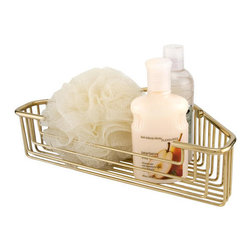 """11-3/4"""" Solid Brass Open Corner Basket - This 11-3/4"""" open corner basket is useful for large showers. Made from solid brass, this basket will keep your shower items close at hand and organized."""