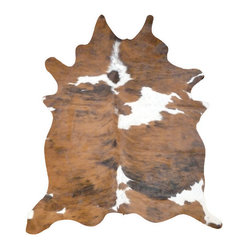 African Brown and White Cowhide Rug