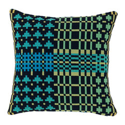Donna Wilson, SCP - Field Day Cushion - Black Forest - Donna Wilson, SCP - A new textile collection of throws, blankets and cushions. This collection makes subtle use of the rigid rules that apply to the double-cloth weaving technique employed by the traditional Welsh mill where it is created. Made with 100% single-ply wool, spun and dyed in England and woven in Wales using a traditional double-cloth weaving technique. Made in Wales.