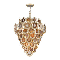 Corbett Lighting - Rock Star Pendant - Rock Star Pendant is made of hand crafted iron featuring Natural Agate slices surrounded by circles in Gold Leaf finish. Available in three sizes. Requires 60 watt 120 volt B10 candelabra base incandescent lamps, not included. UL listed. Dimensions: Small: 19.25 inch diameter x 29 inch height. Medium: 24 inch diameter x 31.25 inch height. Large: 32.75 inch diameter x 47 inch height.