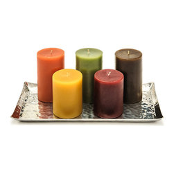 "Frontgate - Set of Two Unscented Pillar Candles - Comes in a set of two in same color and size. Average burn time is 120 hours for 3"" x 6"" candles and 80 hours for 3"" x 4"" candles. Handmade with paraffin blend wax and finished in rich colors. Safe, lead-free cotton wicks. Slow-burning and virtually smoke-free. Handmade with a premium paraffin blend wax, our Unscented Pillar Candles radiate gorgeous candlelight for hours on end. In your choice of rich colors, each superior-quality candle produces a beautiful, warm glow and a slow, even burn.  .  .  .  .  . Made in USA."