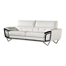 Creative Furniture - Kaya Modern White and Black Eco-Leather Sofa - Sofa is not only a comfortable spot for relaxing, but also one of the main parts of any modern living room. The Kaya Sofa in contrasting 2-tone black/white Eco-leather upholstery and triangular chromed stainless steel legs looks like a modern work of art.    Features: