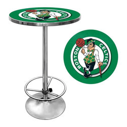 Trademark Global - Boston Celtics NBA Chrome Pub Table - Officially Licensed Art. Reverse Printed on .125 inch Scratch Resistant UV Protective Acrylic. Table Top is trimmed with Chrome Finished Plastic Banding. Chrome Base. Adjustable Foot Rest. Table Top Dimensions: 27.375 x 27.375 x 1.25 inches. Overall Dimensions: 27.375 x 27.375 x 42 inchesImpress your guests with your officially licensed chrome pub table. This fully functional pub table will be a stylish accent to your game room, garage or collection. The table top features an authentic logo trimmed with chrome finished plastic banding and is supported by a chrome base. The chrome base is both lightweight and durable. It features an adjustable foot rest for customizable comfort. Bring style, function and comfort to your game room, garage or collection with an officially licensed chrome pub table.