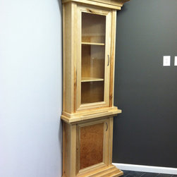 Wine Cabinet - Corner wine storage cabinet, made from maple and elm. Bottom cabinet holds wine glass and cooler.