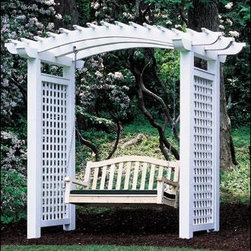 "Plantation Arbor - 4 1/2"" cedar posts and 3 joists. 6'W, 39""D. Mortise construction. Side panels are 6' H, horizontal/vertical lattice with 2 1/2"" openings. Kimball swing natural cedar with hanging hardware. Available in Cedar or Cellular Vinyl.  Cushion sold separately. Shipped kit. Motor freight."