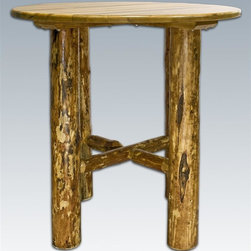 Montana Woodworks - Log Round Bistro Table - Hand crafted. Heirloom quality. Edge glued panels. Solid lodge pole legs. Made from American grown wood. Stained and lacquered finish. Made in USA. No assembly required. 45 in. Dia. x 40 in. H (115 lbs.). Warranty. Use and Care InstructionsRevel in the natural beauty of this classic style bistro table. Handcrafted using solid, American grown wood, the large lodge pole pine legs ensure this table's timeless beauty and durability. Finished in the glacier country collection style for a truly unique, one-of-a-kind look reminiscent of the Grand Lodges of the Rockies, circa 1900. First we remove the outer bark while leaving the inner, cambium layer intact for texture and contrast. Then the finish is completed in an eight step, professional spraying process that applies stain and lacquer for a beautiful, long lasting finish.