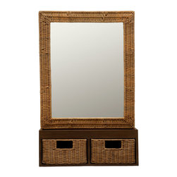KOUBOO - Wicker Foyer Mirror With Drawers - Streamline your life with this sleek, Tanguile wood shelved mirror in your foyer. Keep tabs on your look as you grab your keys and wallet, while whisking from the house with a hint of wicker-framed loveliness still in your mind's eye.