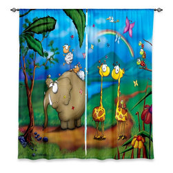 """DiaNoche Designs - Window Curtains Lined by Toosh Toosh Jungle Party - Purchasing window curtains just got easier and better! Create a designer look to any of your living spaces with our decorative and unique """"Lined Window Curtains."""" Perfect for the living room, dining room or bedroom, these artistic curtains are an easy and inexpensive way to add color and style when decorating your home.  This is a woven poly material that filters outside light and creates a privacy barrier.  Each package includes two easy-to-hang, 3 inch diameter pole-pocket curtain panels.  The width listed is the total measurement of the two panels.  Curtain rod sold separately. Easy care, machine wash cold, tumble dry low, iron low if needed.  Printed in the USA."""