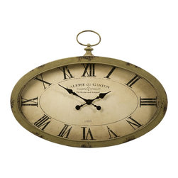 iMax - iMax Sophie Oval Wall Clock X-91098 - The Sophie oval wall clock features an antiqued sage green finish and looks great with a variety of decor.
