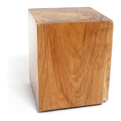 Rotsen Furniture - Natural Square Wood Stool - Dare to be square in your favorite setting with this stool/end table. Crafted from reclaimed Brazilian Vinhatico wood, it retains its natural unique grain under an appealing smooth finish.