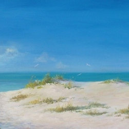 "Original 24"" X 72""  Tropical Seascape Oil Painting - ""Lido Days is a combination of memories and impressions as I walk through the gentle sand dunes of the northern part of the beach on Lido Key near Sarasota, Florida. I often enjoy painting a scene that allows one to mentally and emotionally ""walk into"" the painting along a path or road. I find a sense of mystery and adventure in discovering what is around the bend or over the peak of the dunes."