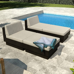 Sonax - Sonax Park Terrace Textured Chaise Lounge Set - PPT-306-Z - Shop for Chaise Lounges from Hayneedle.com! Relax on your patio deck or by the pool with the beautiful and comfortable Sonax Park Terrace Textured Chaise Lounge Set. Each piece features a heavy-duty powder-coated steel frame wrapped in beautiful UV-resistant resin rattan wicker with a rich textured black weave. Luxurious high-grade foam cushions are covered in beautiful weather-resistant cushions in your choice of color so you can relax in comfort and serenity. Rest your feet comfortably on the ottomans or use them as extra seating in a pinch. Beautiful and relaxing you'll love spending time with a friend or a favorite book while relaxing on these lounge chairs. Dimensions Armless chair: 30.25W x 37.75D x 29.5H in. Ottoman: 30.25W x 37.75D x 16.5H in. About SonaxLocated just outside Vancouver Canada Sonax has been producing top-quality contemporary furnishings for over 30 years and now ranks among Canada's largest ready-to-assemble furniture makers. Sonax's color palettes are inspired by the wood tones found in Canada's Pacific forests and their designs have an easy-to-assemble sensibility with a truly West Coast flair. With so many inspirations springing from their natural surroundings Sonax always considers the environment by producing furniture that is renewable safe and built to last.