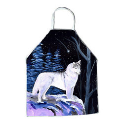 Caroline's Treasures - Starry Night Siberian Husky Apron - Apron, Bib Style, 27 in H x 31 in W; 100 percent  Ultra Spun Poly, White, braided nylon tie straps, sewn cloth neckband. These bib style aprons are not just for cooking - they are also great for cleaning, gardening, art projects, and other activities, too!