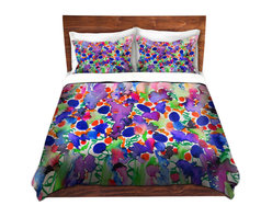 DiaNoche Designs - Duvet Cover Microfiber by Julia Di Sano - Elegance Garden - Super lightweight and extremely soft Premium Microfiber Duvet Cover in sizes Twin, Queen, King.  This duvet is designed to wash upon arrival for maximum softness.   Each duvet starts by looming the fabric and cutting to the size ordered.  The Image is printed and your Duvet Cover is meticulously sewn together with ties in each corner and a hidden zip closure.  All in the USA!!  Poly top with a Cotton Poly underside.  Dye Sublimation printing permanently adheres the ink to the material for long life and durability. Printed top, cream colored bottom, Machine Washable, Product may vary slightly from image.