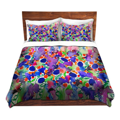 DiaNoche Designs - Duvet Cover Microfiber by Julia Di Sano - Elegance Garden - DiaNoche Designs works with artists from around the world to bring unique, artistic products to decorate all aspects of your home.  Super lightweight and extremely soft Premium Microfiber Duvet Cover (only) in sizes Twin, Queen, King.  Shams NOT included.  This duvet is designed to wash upon arrival for maximum softness.   Each duvet starts by looming the fabric and cutting to the size ordered.  The Image is printed and your Duvet Cover is meticulously sewn together with ties in each corner and a hidden zip closure.  All in the USA!!  Poly microfiber top and underside.  Dye Sublimation printing permanently adheres the ink to the material for long life and durability.  Machine Washable cold with light detergent and dry on low.  Product may vary slightly from image.  Shams not included.