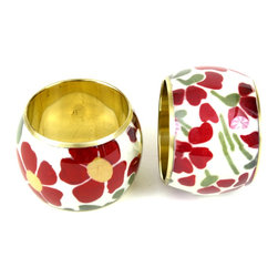 MarktSq - Floral Napkin Ring (Set Of 4) - These delightful napkin ring is guaranteed to brighten up your table setting. These napkin napkin rings are unique and made exclusively for us. Sold as a set of 4.