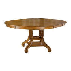Hillsdale Furniture - Hillsdale Wilshire 56x56 Round Dining Table in Pine - The Wilshire collection features a blend of cottage styling with country accented details. The blend of Americana and English country gives the Wilshire collection a look and feel that will enhance any home. The craftsmanship is evident in each piece. Opening a drawer is a reflection of old world craftsmanship, complete with tongue and groove drawer bottoms, English dovetail drawer construction and thick solid wood drawers. Finishes have been painstakingly applied to give years of enjoyment.