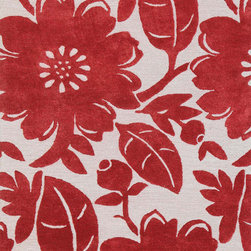 Jaipurrugs - Soft Hand Wool Red/Ivory Bouquet Rectangle Rug Border Color Velvet Red 5' x 8' - Hand-Tufted Soft Hand Wool/ Art Silk Red/Ivory Bouquet Rectangle Rug Border Color Velvet Red 5' x 8'.