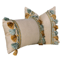 "PillowFever - Linen Pillow in Natural Color with Blue and Bronze Tassel Trim 18"" x 18"" - Pillow insert is not included!"