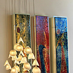 "Abstract wall painting & art glass decor - ""The dancers"""