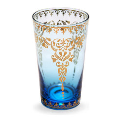 Moroccan Glass  - Azure 12 oz. - An essential for the international table, this exquisite tapered tumbler in ombre blue is accented with gold filigree designs for a distinctively Eastern look.  The Azure Moroccan Glass is truly ideal for tea � that is, in fact, what this type of glass is designed to hold � but also makes a luscious, luxurious choice for a water glass when you're dining al fresco or indoors.