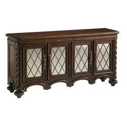 Lexington - Lexington Florentino Barletta Hall Console - Four wood framed antiqued mirror doors with decorative metal fretwork open to reveal four adjustable shelves, making organization all the more beautiful.