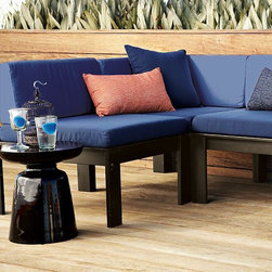 Wood-Slat Sectional Outdoor Cushions - Add some softness to the great outdoors. The perfect complement to the Wood-Slat Sectional, these tough, water-resistant, woven-polyester canvas cushions come in a variety of colors and patterns.