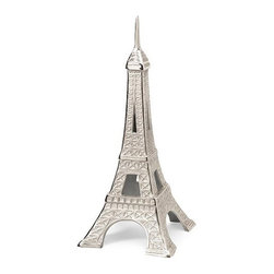 iMax - Eiffel Tower Cast Aluminum Statuary - This cast aluminum replica of the Eiffel tower stands just a little under two feet tall and is perfect for a side table or shelf. Get the souvenir without leaving your home town, or bring your travel memories to life!