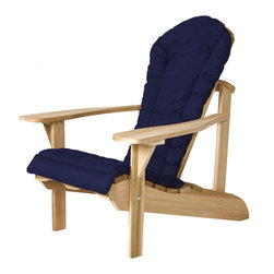 All Things Cedar - ADIRONDACK Chair Cushion - (blue) - Our adirondack chair cushions are made with 2 inches of luxurious polyfil covered with a soft-faced cotton canvas. Edges are reinforced and tie downs keep the cushion properly positioned at all times. : DIMENSIONS : 54w x 20d x 2h ---SEAT : 21w x 20d x 2h ---BACK : 33w x 18d x 2h