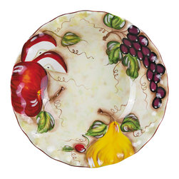 "Lorren Home Trends - Hazel Collection Round Bowl 16"" By Lorren Home Trends - This Large Round Pasta Bowl from The Hazel Collection by Lorren Home Trends is perfect for holding and serving food. Impress your guests by serving your meal in this beautifully hand painted wavy edge designed bowl.  Also makes a great table centerpiece to enjoy anytime.  This collection features oversized life-like hand painted fruits on an ivory background with scalloped edges.  Dishwasher and food safe.  Measures 16"" x 16"" x 3.75""."