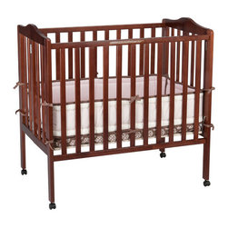 """Delta Children's Products - Portable Mini Crib - Features: -Fold-a-way portable crib.-Features two-position mattress support.-Lightweight multi-purpose crib.-Adjustable and easy to fold.-Meets and exceeds JPMA and CPSC standards for non-full size crib.-Easy for travel and storage.-Stationary front and back rail.-Non-toxic finish.-Non-drop side.-Not recommended for daycare use.-Product Type: Portable crib.-Design: Simple.-Style: Traditional.-Distressed: No.-Material: Wood.-Hardware Material: Metal.-Number of Items Included: 1.-Solid Wood Construction: Yes.-Reclaimed Wood: No.-Non Toxic: Yes.-Lead-Free: Yes.-Non-allergenic: No.-Water Resistant: No.-Scratch Resistant: No.-Stain Resistant: No.-Fire Resistant: No.-Finished Back: Yes.-Compatible Mattress Size: Portable.-Mattress Included: Yes -Mattress Air Vents: No.-Mattress Type: Foam.-Mattress Fill Material: Polyurethane..-Under Crib Storage: Yes.-Drop Side Crib: No.-Adjustable Mattress Height: Yes -Number of Mattress Height Settings: 2..-Conversion Set Available: No.-Convertible: No.-Life Stage: Baby.-Canopy: No.-Wheels/Castors: Yes -Locking Wheels: No..-Crib Feet: No.-Folding: Yes.-Rocking: No.-Toddler Safety Rail Available: No.-Changing Table Included: No.-Hamper Included: No.-Drawers Included: No.-Shelving: No.-Weight Capacity: 35 lbs.-Commercial Use: No.-Recycled Content: No-Remanufactured/Refurbished: No..-Eco-Friendly: Yes.-Product Care: Wipe clean and dry with a damp cloth.Specifications: -JPMA Certified: Yes.-ASTM Compliant: Yes.-CPSIA or CPSC Compliant: Yes.-Sixteen CFR Compliant: Yes.-General Conformity Certificate: Yes.-ISTA 3A Certified: Yes.Dimensions: -Overall Height - Top to Bottom: 37.25"""".-Overall Width - Side to Side: 39"""".-Overall Depth - Front to Back: 25"""".-Height from Floor to Crib: 9"""".-Height from Top of Bed to Top of Railing: 26"""".-Changing Table: No.-Mattress: -Mattress Thickness: 1"""".-Mattress Width - Head to Foot: 38"""".-Mattress Depth - Front to Back: 24""""..-Youth Bed: No.-Slatted: -Slat Thickness:"""