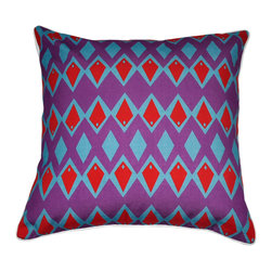 "Loom and Mill - Loom and Mill Diamond Decorative Pillow, 18"" x 18"", Purple - We love these Mid-Century inspired decorative pillows. They add amazing pops of color and a unique geometric style without leaving out comfort and quality.  Spot clean only."