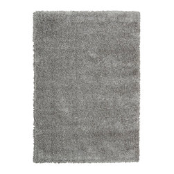"""Nourison - Nourison Escape ESCP1 5'3"""" x 7'3"""" Grey Area Rug 22924 - Soft, pale shades of bone create gorgeous effects of shadow and light in this thick woven shag. Immensely sensory, it evokes the cool elegance of mid-century modern while welcoming bare feet and a relaxed lifestyle."""