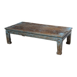 Recycled Wood - Reclaimed wood coffee table with distressed blue finish. Solid wood.